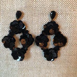 J. Crew black sequin chandelier earrings